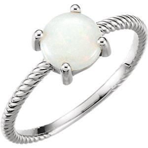 14K White Gold Opal Cabochon Ring