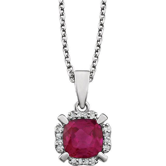 14K White Gold Ruby & Diamond Necklace