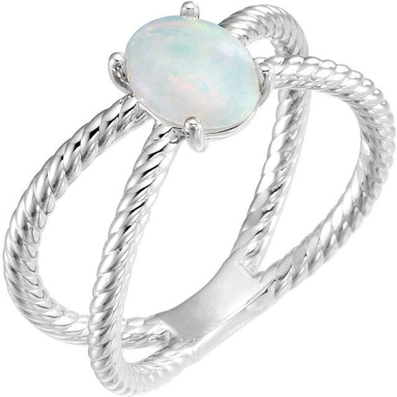 Sterling Silver Opal Cabochon Rope Ring from Miles Beamon Jewelry - Miles Beamon Jewelry