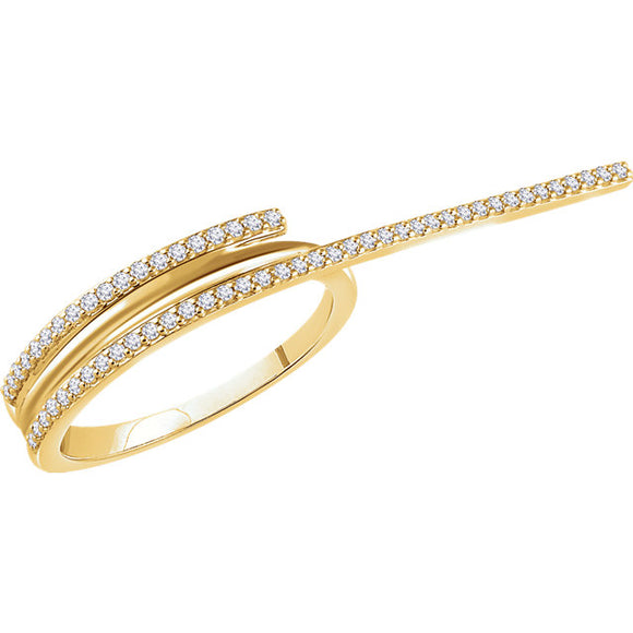 14K Yellow Gold Diamond Two-Finger Ring from Miles Beamon Jewelry - Miles Beamon Jewelry