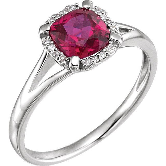 14K White Ruby & Diamond Ring