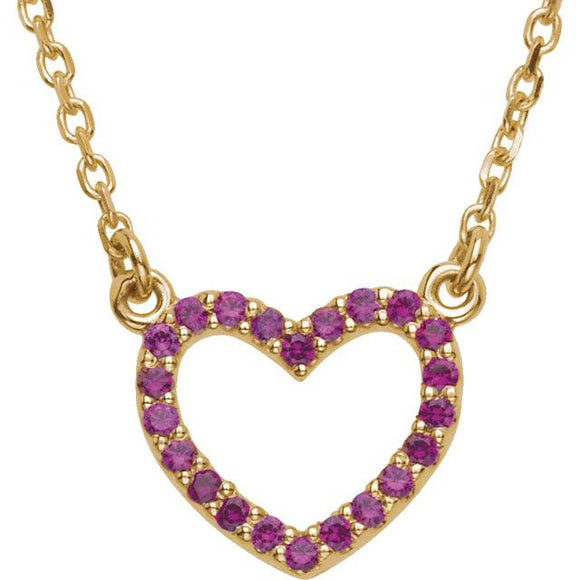 14K Yellow Gold Ruby Heart Necklace from Miles Beamon Jewelry - Miles Beamon Jewelry