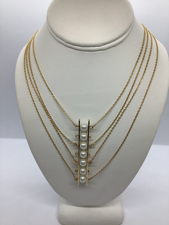 Pearl Ladder Necklace - Gold/White