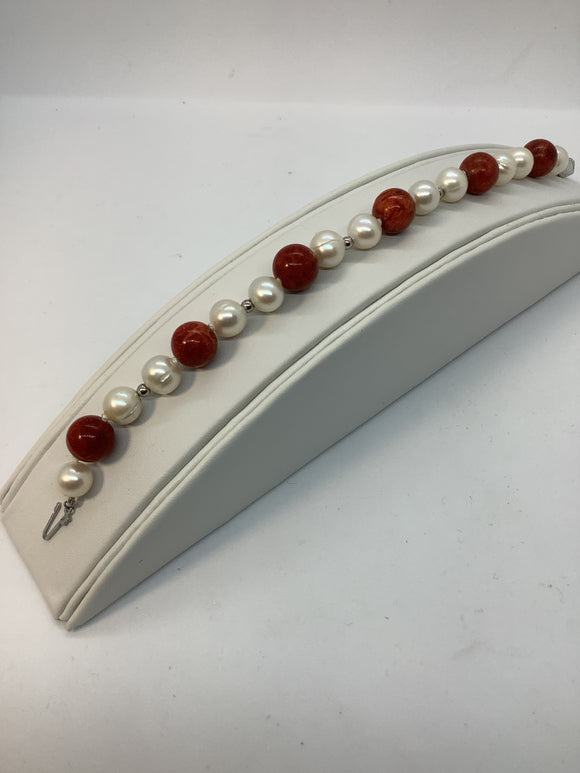 Sterling Silver FW Cultured Pearl and Red Coral Bracelet