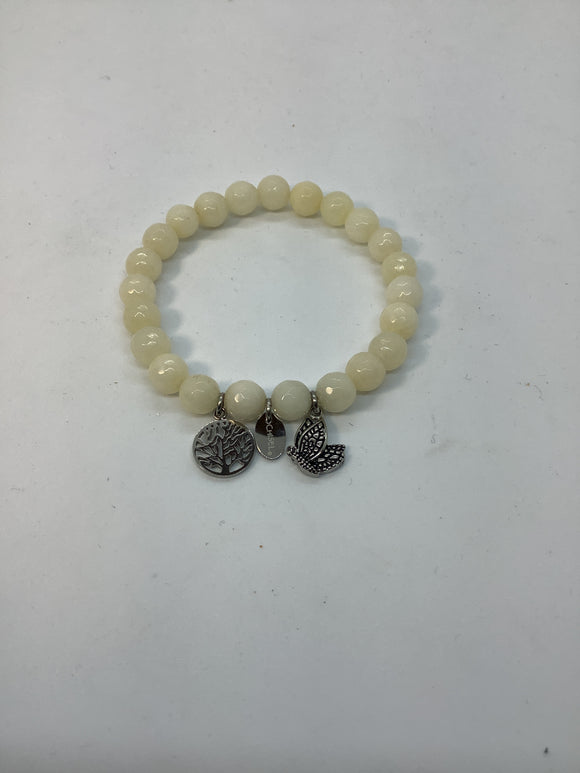 Stainless Steel Antiqued and Polished Butterfly White Jade Stretch Bracelet