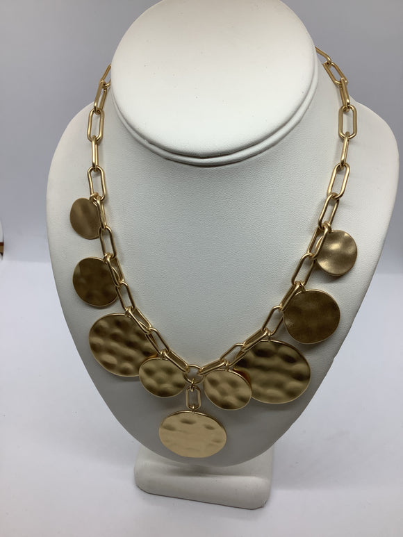 Chain And Coin Medallions Collar Necklace