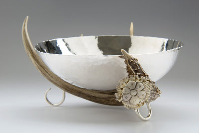 Ben Caldwell Silver Bowl with Antler Stand