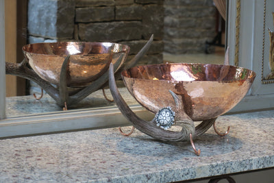 Copper Bowl with Moose Antler Stand