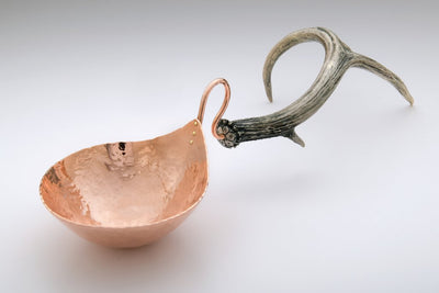 Copper Nut Bowl with Antler Stand-Ben Caldwell