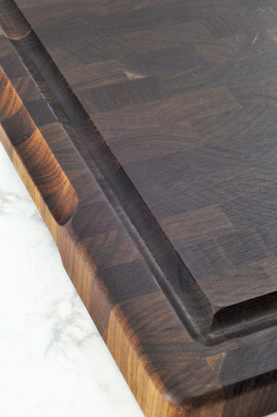 Mastro Kitchen Walnut End Grain Prep Cutting Board: Size 12 x 18 Inches
