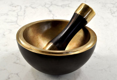 Black Space Bronze Mortar and Pestle