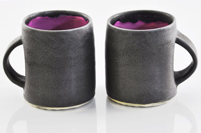 Lynne Tan Charcoal and Magenta Coffee Mugs