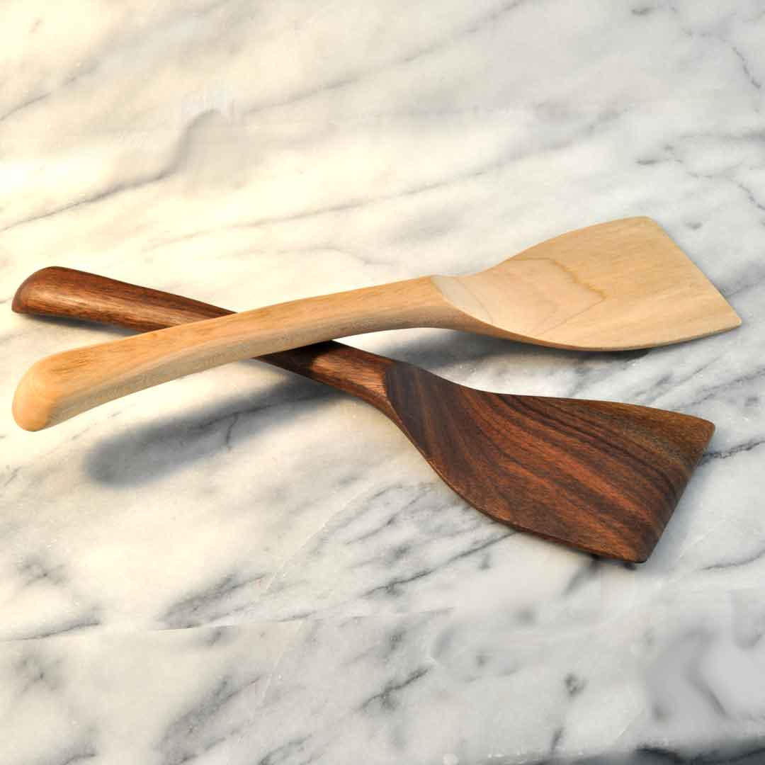 Everyday Hand Carved Long Wooden Spatula