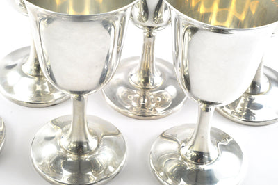 Set of Six Vintage Sterling Silver Goblets by Wallace