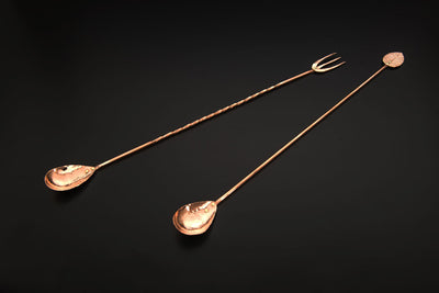 Copper Bar Spoon with Trident Fork