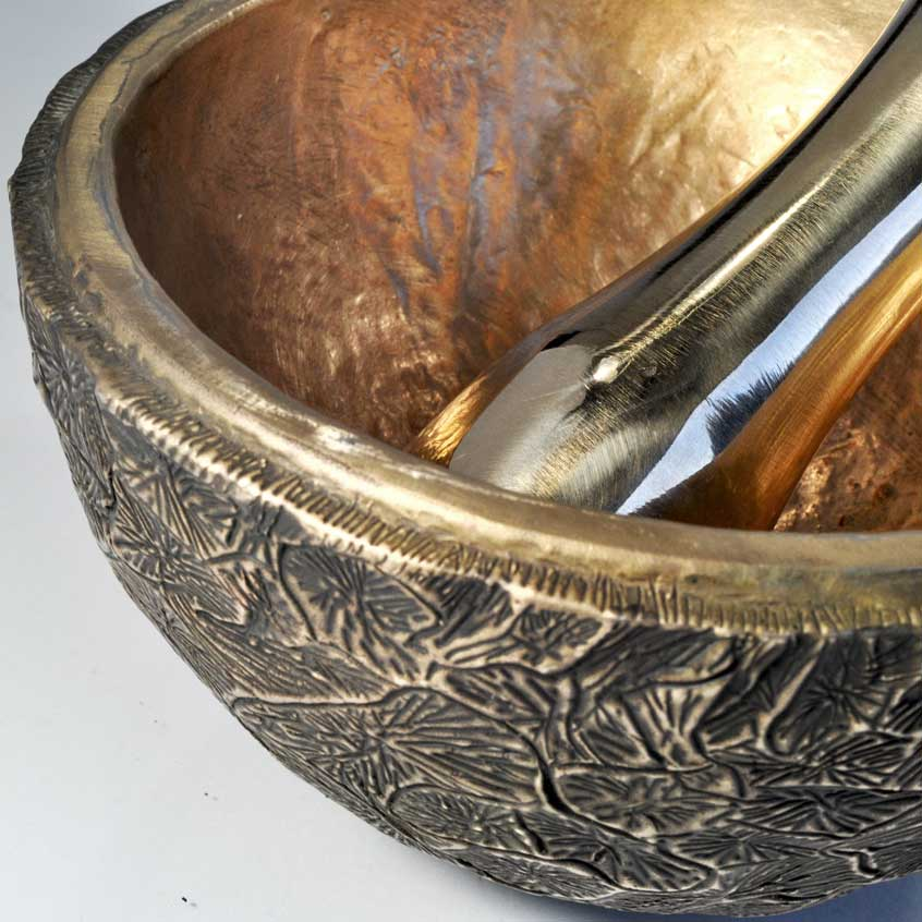 Faceted Burl Bronze Mortar and Pestle