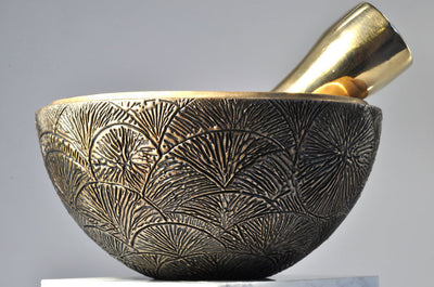 Radiating Tributaries Bronze Mortar and Pestle