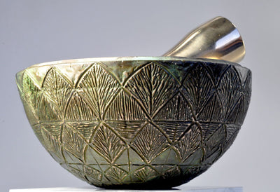 Greek Artichoke Bronze Mortar and Pestle