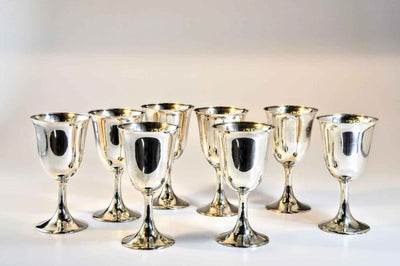 Set of Eight Sterling Silver Goblets by Frank W. Smith Silver Co
