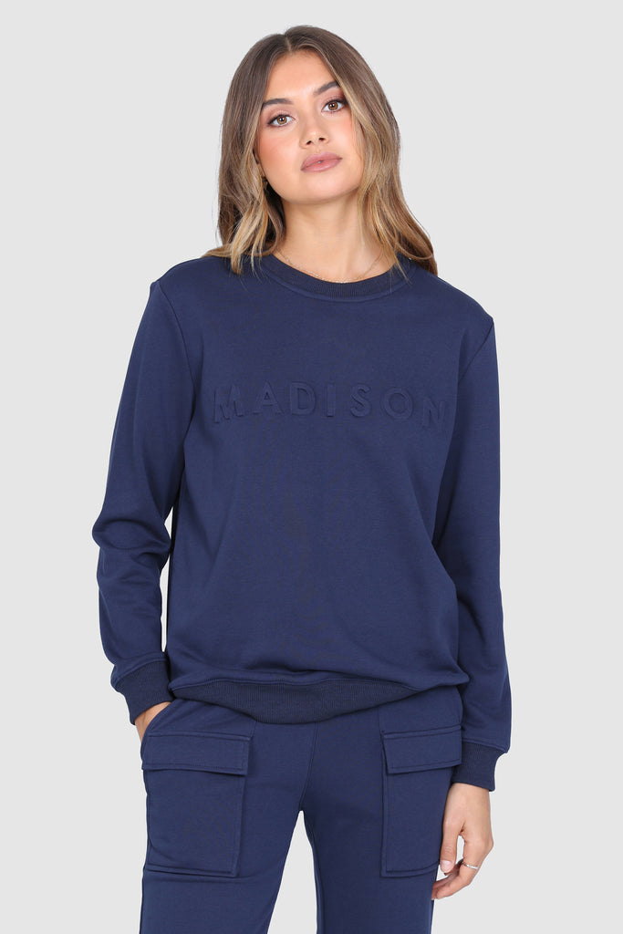 Madison Embossed Sweater | Navy