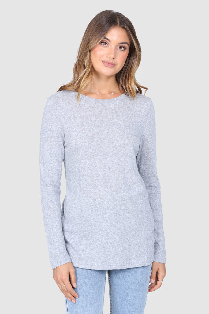 Madison Script Top | Grey