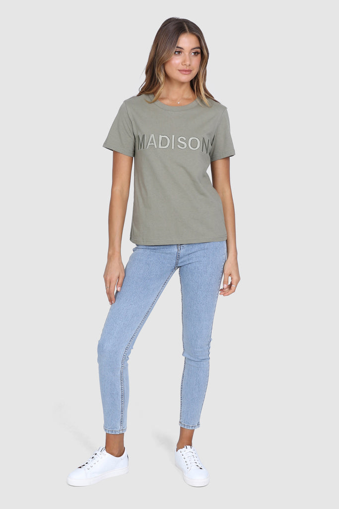 Madison Embroidered Tee | Khaki