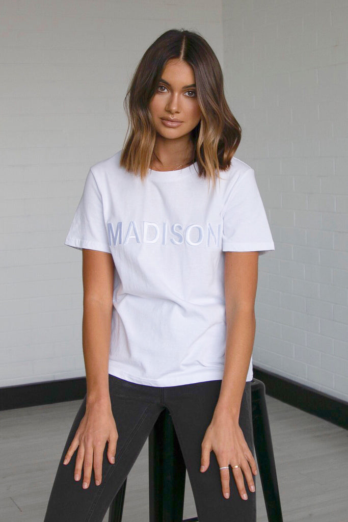 Madison Embroidered Tee | White