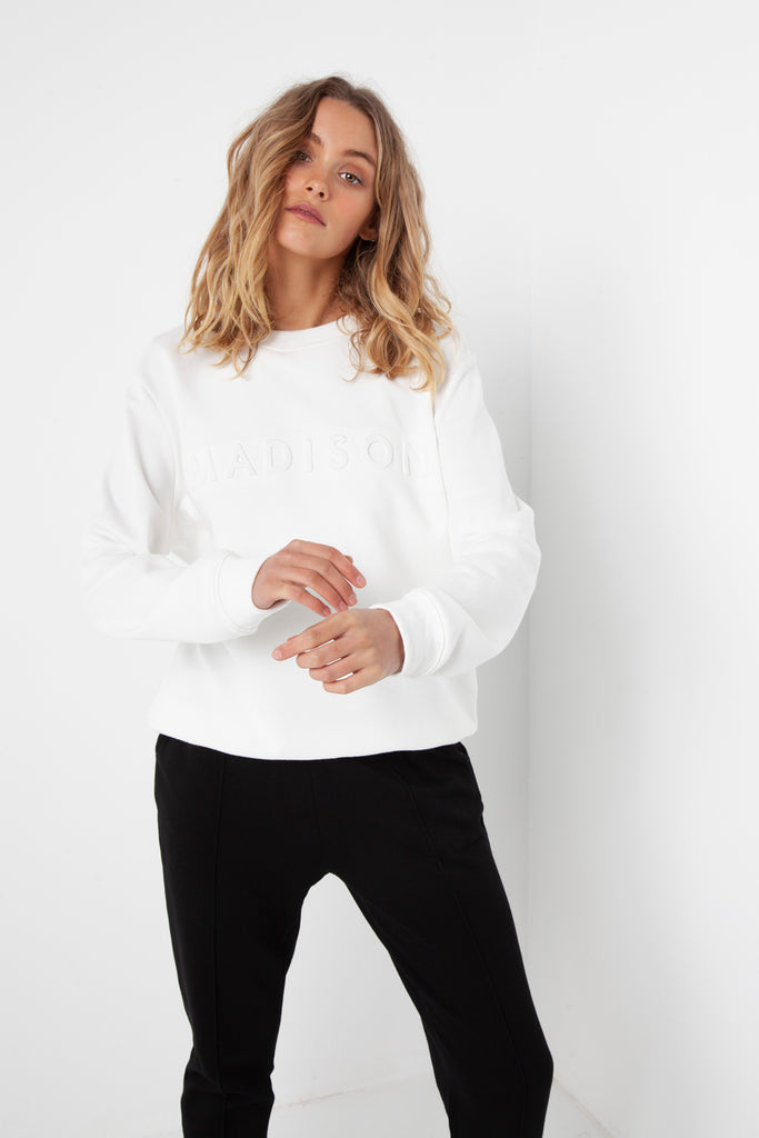 Madison Embossed Sweater | White