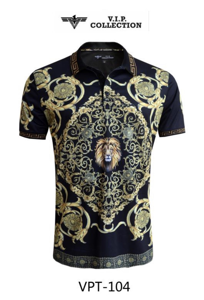 VPT 104 BLK/GLD MEN'S PRINTED POLO 6PK