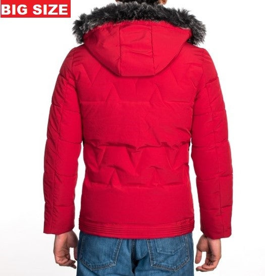 VPJ-05B BIG SIZE RED MENS PUFF JACKET WITH DETACHABLE HOOD 5PK