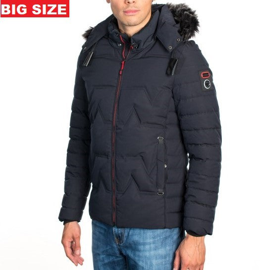 VPJ-07B BIG SIZE NAVY MENS PUFF JACKET WITH DETACHABLE HOOD 5PK