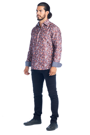 DKL-20-C  RUST PRINTED LONG SLEEVE SHIRT 6PK