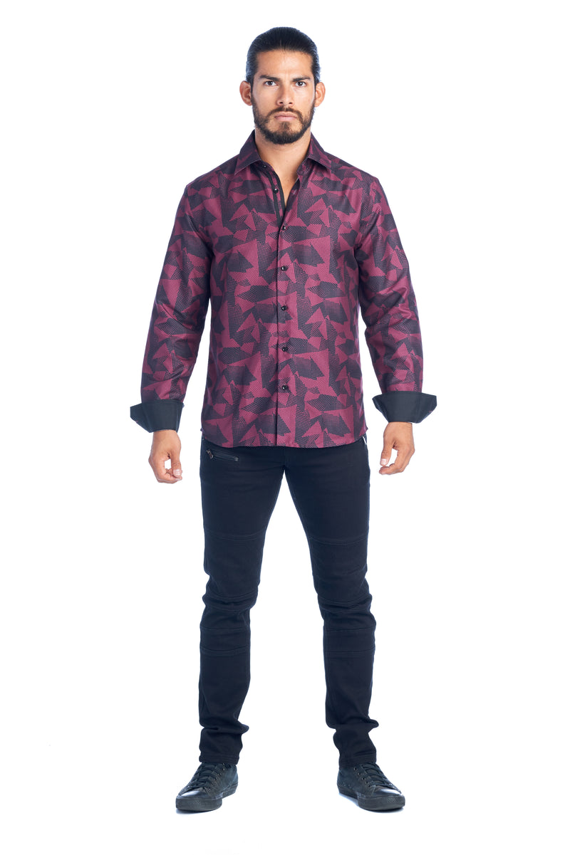 DKL-3-E BURGUNDY PRINTED LONG SLEEVE SHIRT 6PK