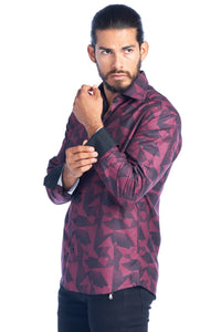 MEN'S BURGUNDY DIGITAL PRINT ELEGANT FASHION SHIRT | HARD SODA DKL-3-E BURG