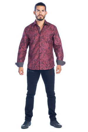 DKL-6-B  BURGUNDY & BLACK LONG SLEEVE SHIRT 6PK