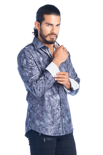 MEN'S GRAY DIGITAL PRINT ELEGANT FASHION SHIRT | HARD SODA DKL-6-C CHARC
