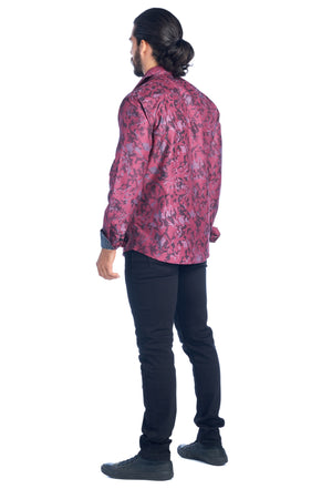 DKL-6-G BURGUNDY LONG SLEEVE SHIRT WITH POLKA DOT CUFFS 6PK