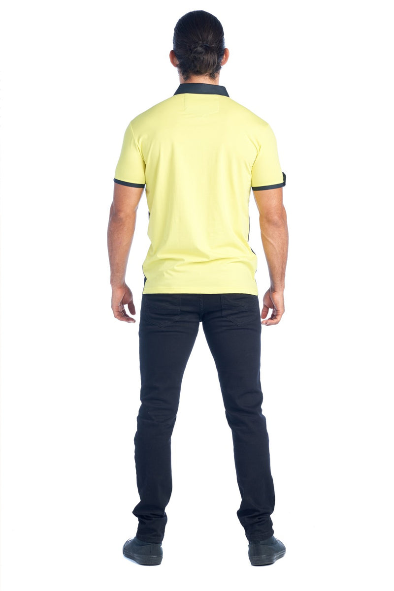 MDP-133 YELLOW/NAVY MEN'S RED FANCY POLO SHIRT