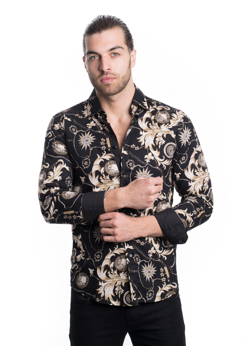 AB191-15L-R  BLACK PRINTED SHIRT