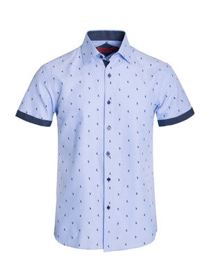 AB191-16S LIGHT BLUE PRINTED SHORT SLEEVE SHIRT 6PK