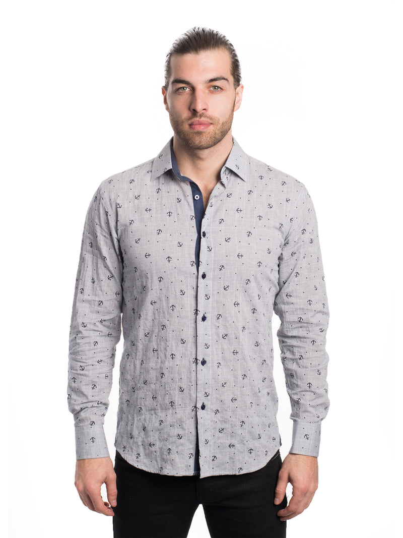 AB191-6L GREY ANCHOR LONG SLEEVE SHIRT 6PK