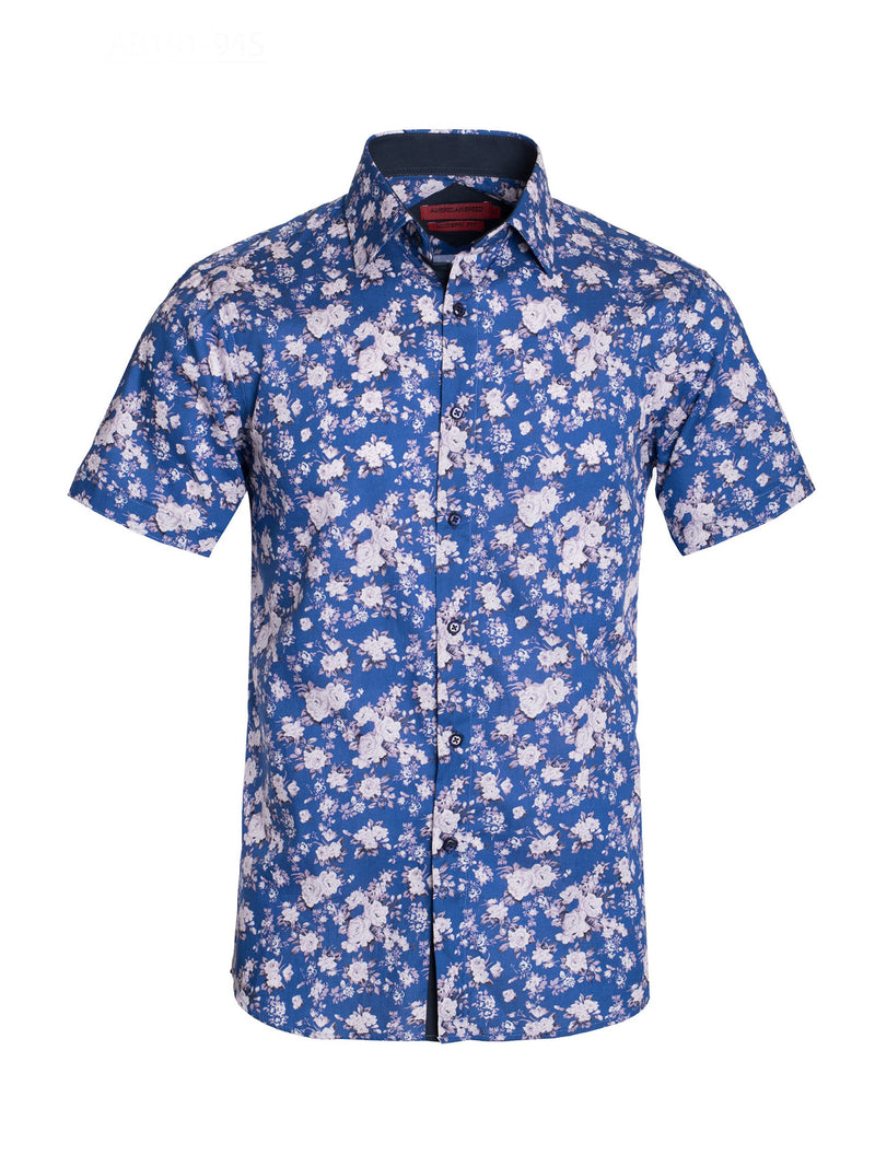 AB191-71S  BLUE FLORAL SHORT SLEEVE SHIRT 6PK