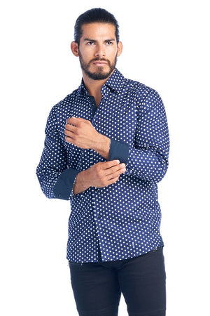 ABH105-8L NAVY BLUE POLKA DOT PRINTED SHIRT 6PK