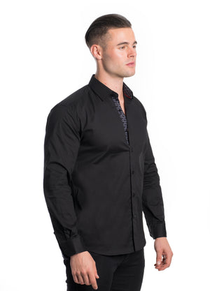 ABLK-2020-BLACK  SOLID STRETCH SHIRT 6PK