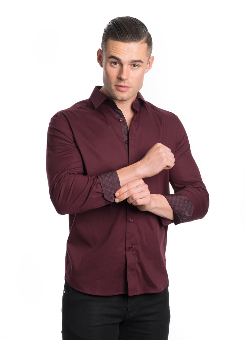 ABLK-2020-BURGUNDY  SOLID STRETCH SHIRT 6PK