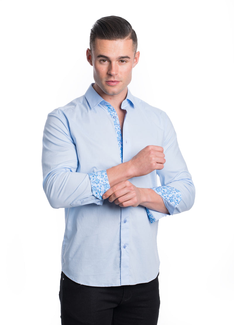 ABLK-2020-LT BLUE  SOLID STRETCH SHIRT 6PK