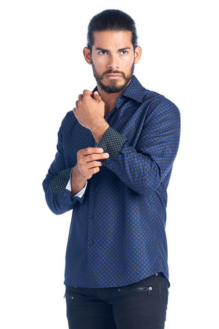 MEN'S BLUE DIAMOND ELEGANT FASHION SHIRT | HARD SODA DKL-10 ROYAL