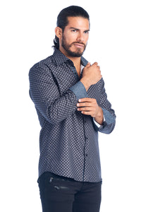 MEN'S GREY DIAMOND ELEGANT FASHION SHIRT | HARD SODA DKL-11 GREY