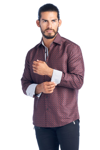 MEN'S BURGUNDY SQUARES ELEGANT FASHION SHIRT | HARD SODA DKL-12