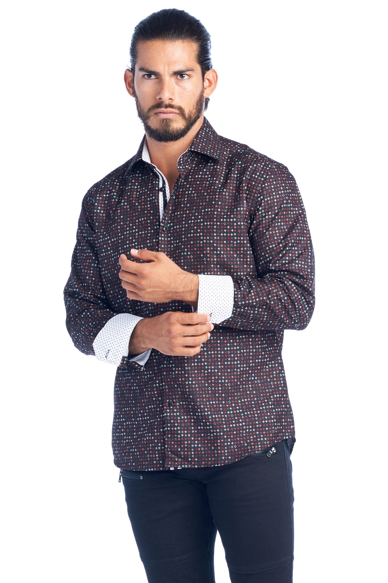 DKL-13 BURGUNDY SQUARES ELEGANT FASHION SHIRT 6PK